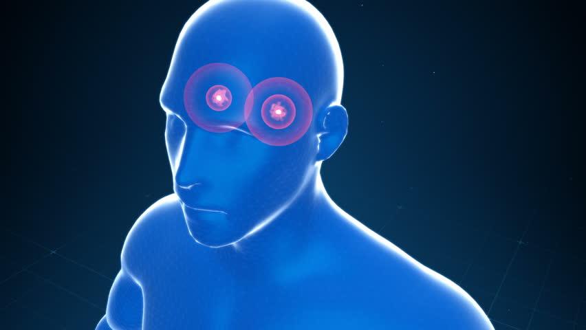 Amygdala in the brain emitting fear, panic, anxiety