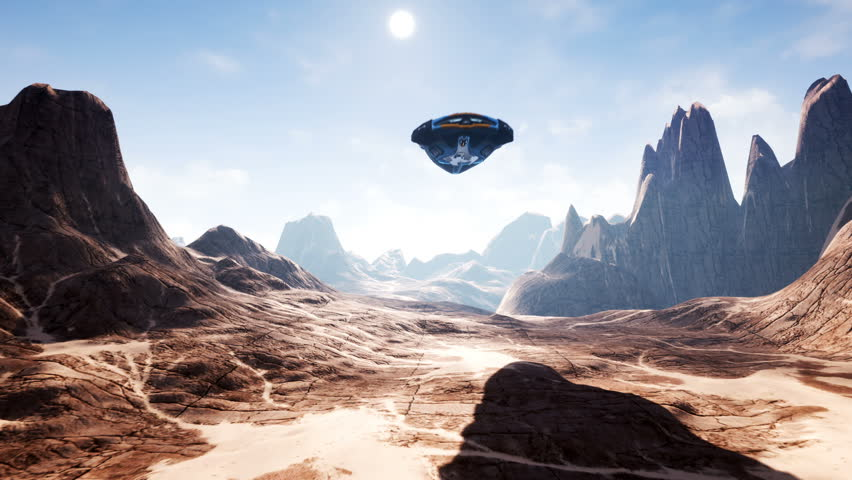 A spaceship flying over an unknown planet. A futuristic concept of a UFO.