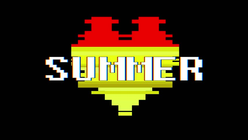 Pixel heart SUMMER word text glitch interference screen seamless loop animation background new dynamic retro vintage joyful colorful video footage | Shutterstock HD Video #1012882166