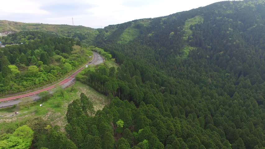 Aerial Drone On Top Of The Mountains Of Hakone Japan