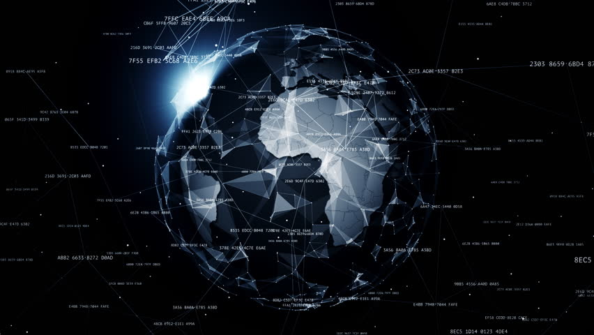 Global network connections. Connecting hashes around the world, communication in social media, 4K seamless loop animation. #1012902506