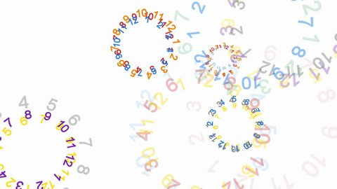 Abstract numbers on white background - 4k, loop, alpha