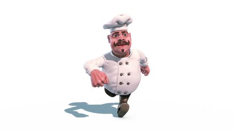 Fun Chef Fast Run Alpha Matte Front 3D Rendering Animation