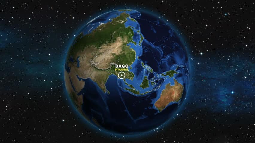 MYANMAR BAGO ZOOM IN FROM SPACE