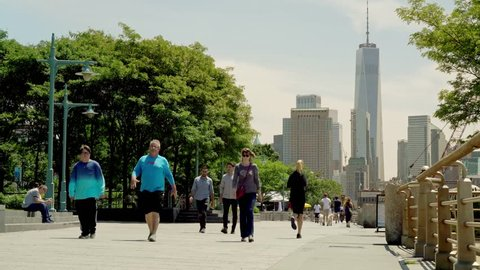 New York, United States, June 11, 2018: locals and tourist cruising the Hudson River Greenway in downtown Manhatten