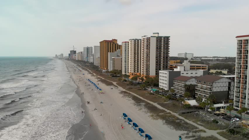 Aerial view of Myrtle Beach buildings along the coast, South Carolina.
