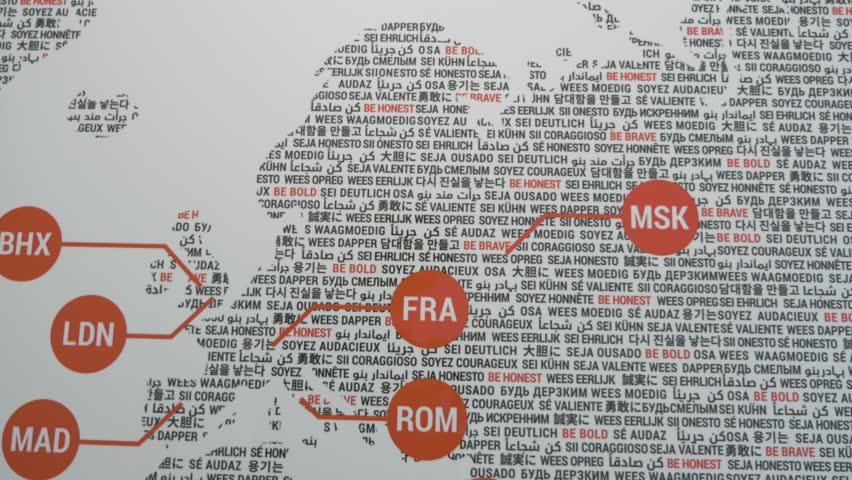 4k0019Motivational Word Map Of Europe Focusing On A Frankfurt Abbreviation