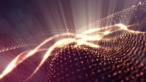 Abstract dark background as a loopable sequence with glow particles and depth of field. 3d render of massive of particles with glow that form surfaces in looped motion.