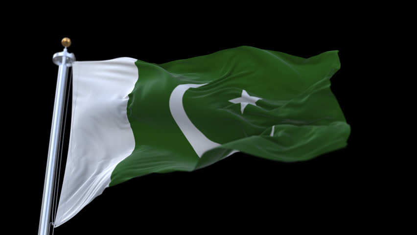 4k seamless pakistan flag with flagpole waving in wind.A fully digital rendering,The animation loops at 20 seconds.flag 3D animation with alpha channel included. cg_06238_4k