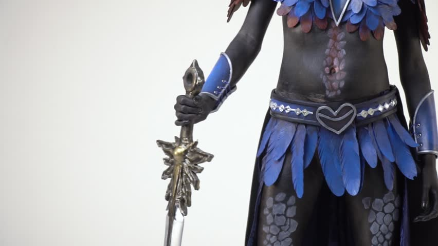 Anime character shifts the sword into the other hand, slow motion