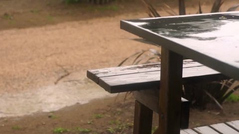 Raining on and beyond a table