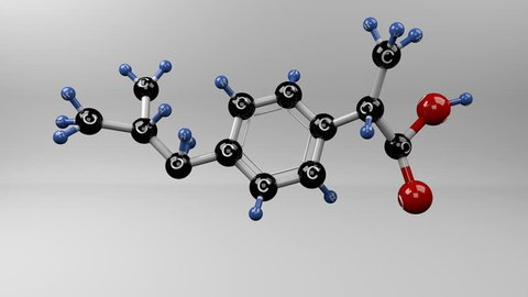 Molecular structure of ibuprofen. Ibuprofen molecule. Treatment for pain, fever and inflammation.