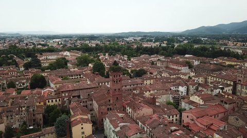 Lucca city. Aerial view landscape. Tuscany. Italy. View from above