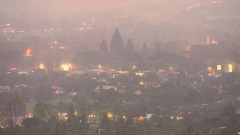 9th Century Prambanan temple evening to night timelapse, Indonesia