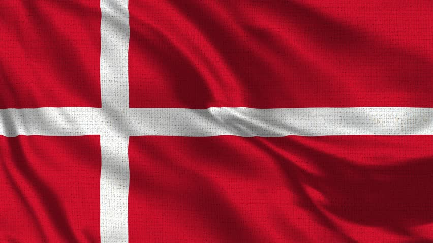 Denmark Flag Loop - Realistic 4K - 60 fps flag of the Denmark waving in the wind. Seamless loop with highly detailed fabric texture. Loop ready in 4k resolution