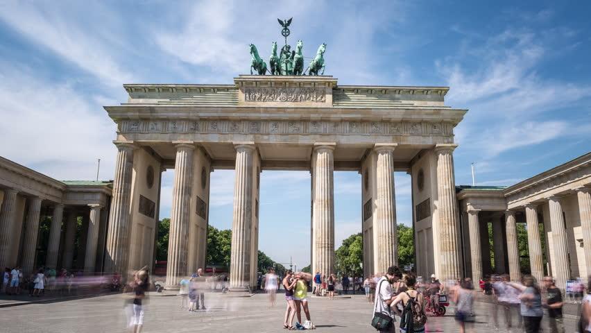 Hyperlapse time lapse sequence of the Brandenburg Gate in Berlin