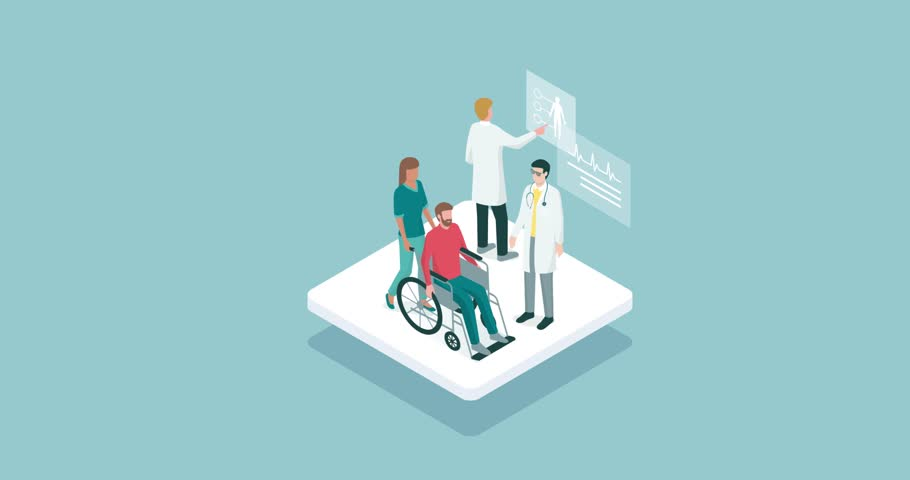 Nurse pushing a patient in wheelchair and professional doctors, healthcare and assistance concept