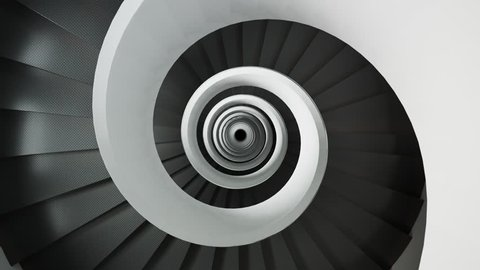 03531 Modern spiral staircase endless loop. Camera moving down.
