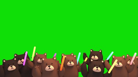 3d cute cheering bears on green screen background animation. (Looped)