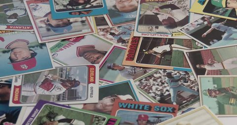 July 4 2018 Bettendorf Iowa Baseball Cards Vintage Old Collectible Cards Throwing Cards On Pile