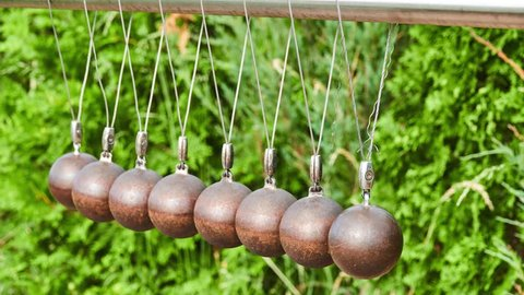 Newton's cradle is device that demonstrates conservation of momentum and energy using a series of swinging spheres. It is also known as Newton's balls or Executive Ball Clicker.