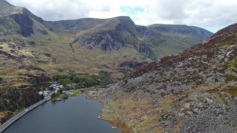 Aerial view of Ogwen valley with Llyn Ogwen in Snowdonia, Gwynedd, North Wales, UK - Great Britain, Europe.