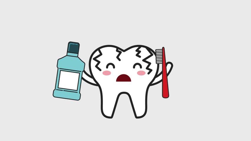 sick cartoon tooth mouthwash brush hygiene dental