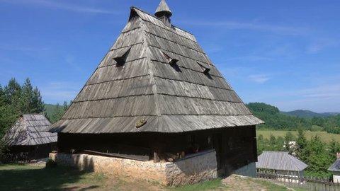 Panorama of old house in ethno village Sirogojno in Zlatibor surroundings, Serbia, 4k