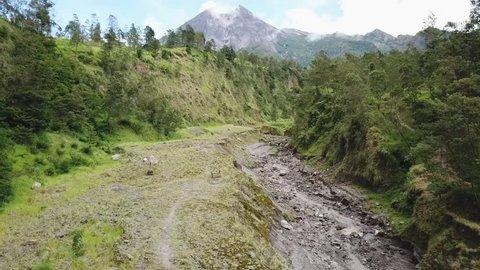 stunning beauty of merapi between high Hill