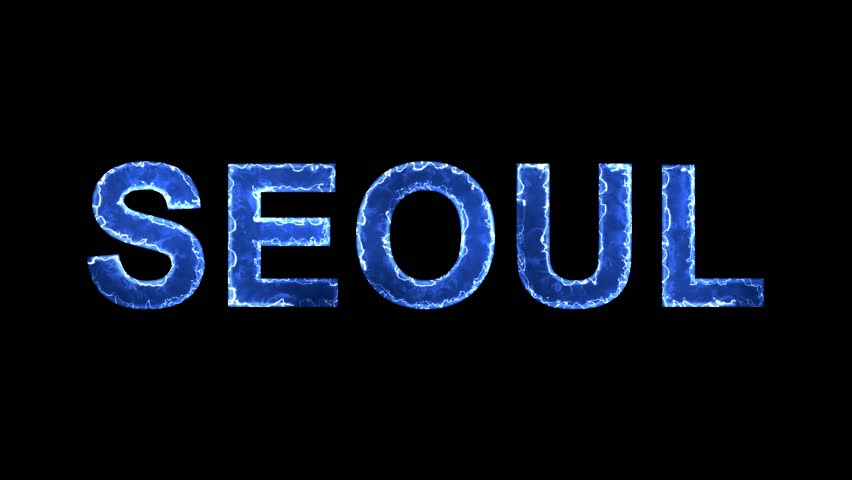 Blue lights form luminous capital name SEOUL. Appear, then disappear. Electric style. Alpha channel Premultiplied - Matted with color black