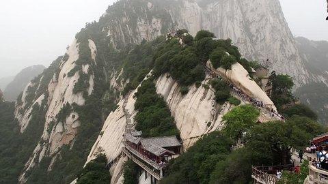 HD 00:10 Huashan mountain North Peak view - Xian, Shaaxi Province, China