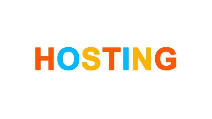 Internet term HOSTING from letters of different colors appears behind small squares. Then disappears. Alpha channel Premultiplied - Matted with color white | Shutterstock HD Video #1013311286