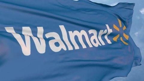 Walmart company logo. Editorial animation