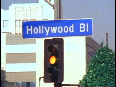 HOLLYWOOD, 1982, Hollywood Boulevard street sign, close up