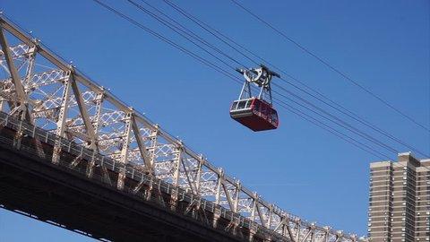 Roosevelt Island Tramway & the Queensboro Bridge. New York City, United States of America.
