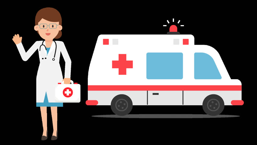 Animated female doctor in a white coat holding a first aid kit in her hand, with a stethoscope around her neck, standing in front of an ambulance car with the lights turned on