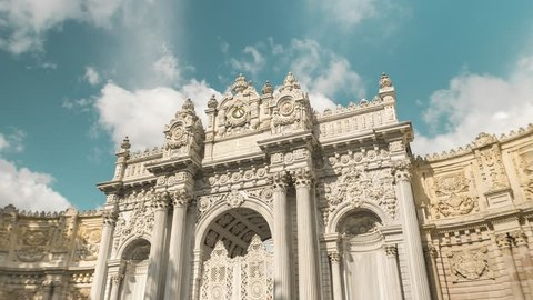 Istanbul, Turkey. View on entrance of the Dolmabahce Palace. Time Lapse 4K Video.