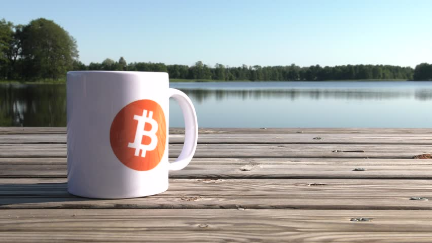 Calmness, Quiet, Safe haven. BTC coin as symbol of electronic virtual money for web banking and international network payment. White cup on the lake. Water and Trees. 4K, UHD. | Shutterstock HD Video #1013582456