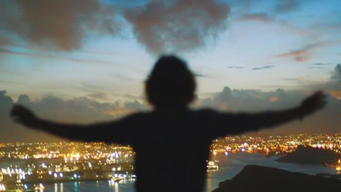 In this cinematic shot you can see silhouette of human with hands raised in the air and beautiful sunset panorama in the horizon. Willemstad, Curacao
