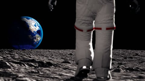 Astronaut walking on the moon and admiring the beautiful Earth. CG Animation. Elements of this video furnished by NASA.