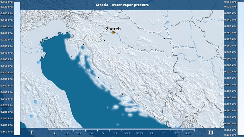 Water vapor pressure by month in the Croatia area with animated legend - English labels: country and capital names, map description. Stereographic projection