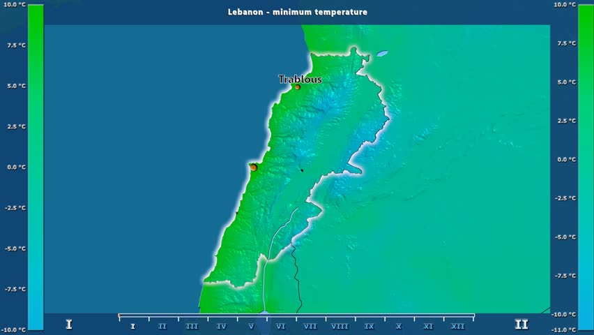 Minimum temperature by month in the Lebanon area with animated legend - English labels: country and capital names, map description. Stereographic projection