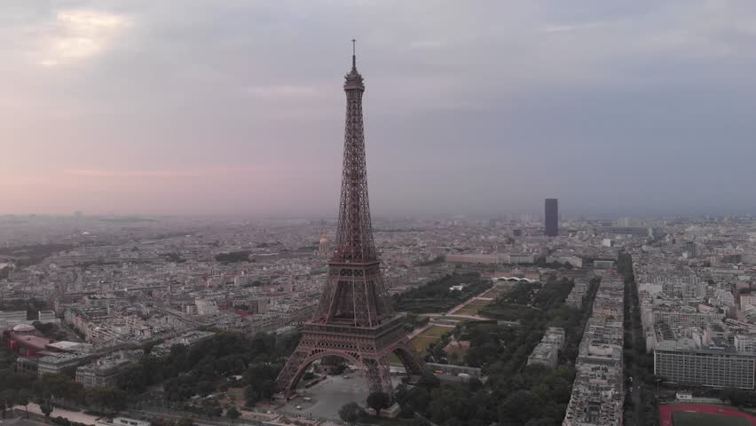 Eiffel Tower at sunrise aerial view - Paris - France | Shutterstock HD Video #1013651426
