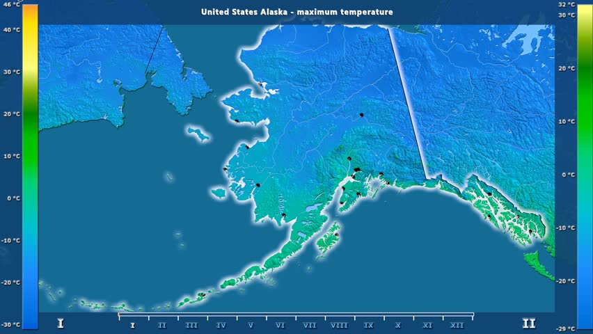Maximum temperature by month in the United States Alaska area with animated legend - English labels: country and capital names, map description. Stereographic projection