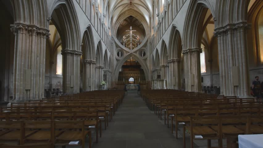 Wells, England - June 2, 2018: Interior of Wells Cathedral - Nave and Ceiling
