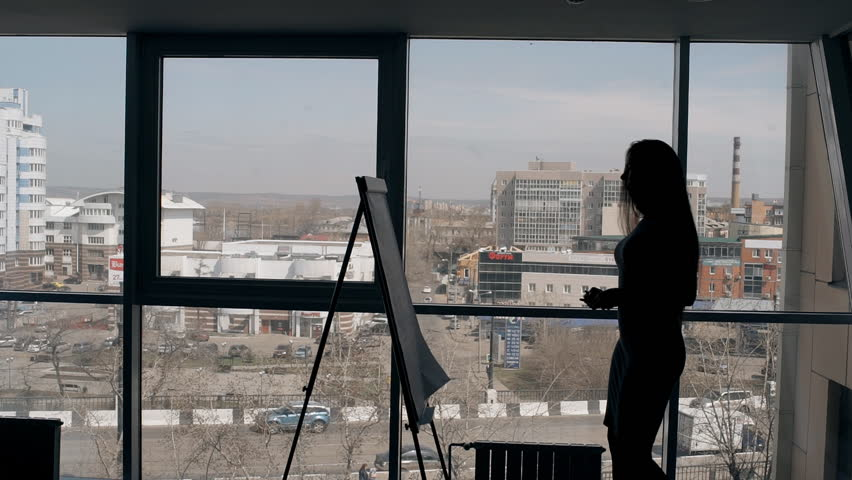 Young businesswoman is writing on paperboard, standing at modern office, beautiful female taking notes, planning working day on background of dynamic urban view.  | Shutterstock HD Video #1013669006
