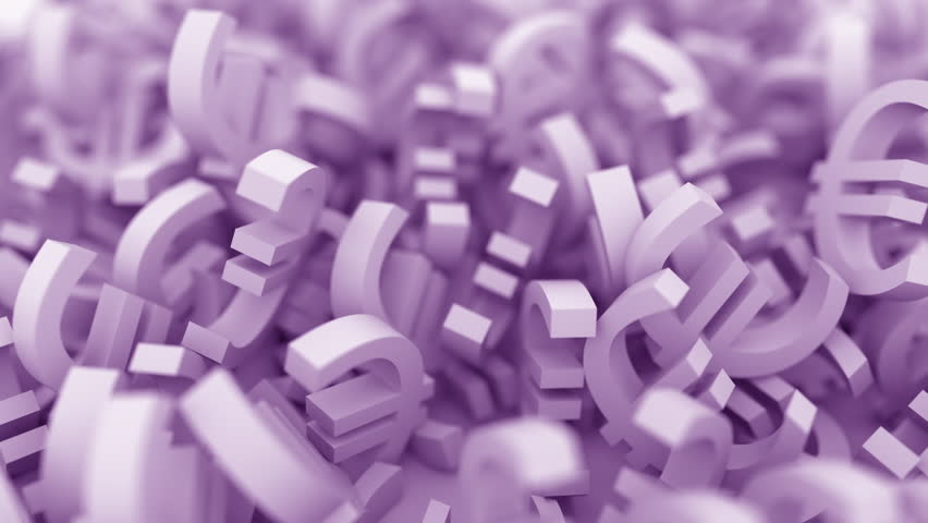 Pile of purple euro signs. Conceptual 3D animation   Shutterstock HD Video #1013688266