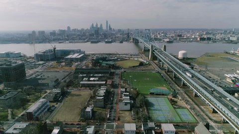 Camden New Jersey View of Philadelphia Aerial Drone