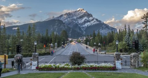 Time Lapse of traffic Banff Avenue, Banff , Canadian Rockies, Banff National Park, UNESCO World Heritage Site, Alberta, Canada, North America