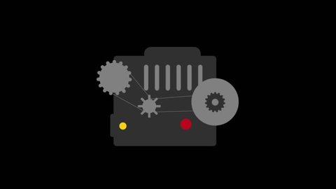 Cars Details icons animation with black png background.Radiator icon animation with black png background.